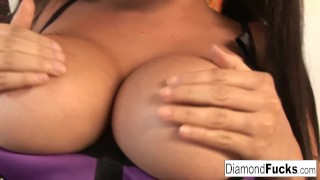 Preview 3 of Diamond Kitty Decides To Show Off Her Amazing Curves In A Purple Corset