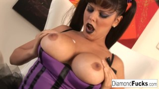 Preview 4 of Diamond Kitty Decides To Show Off Her Amazing Curves In A Purple Corset
