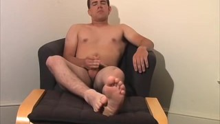 Dick wanking with hairy homo Adam while showing feet