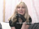 MILF puts on leather gloves