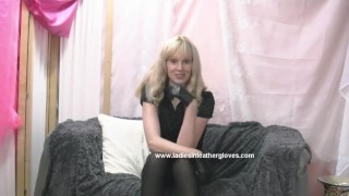 On kinky puts milf make blonde leather you into to slave fetish her gloves milf mom