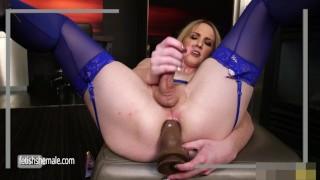 Sweet Blonde Kayleigh Jerks her Hard Dick and Fucks herself Small deepthroat