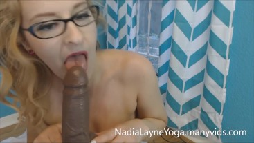 Housewife in Glasses Sucks and Fucks Cock