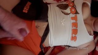 Hot Hooters Girl gets fucked & cum on uniform - Brooklyn Rivers