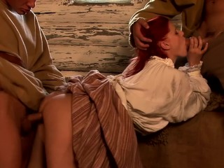 Bubble Butt Redhead Gets Double Penetrated