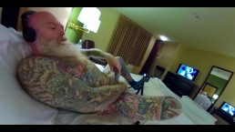 Inked Daddy Bear Hotel Bate with Doxy Massage Wand - Inked Pierced Cock