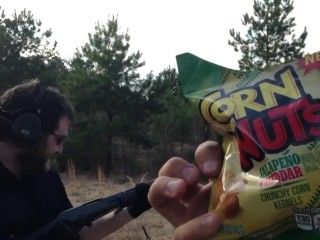 Stupid Spicy Flavored Shotgun Shells Video – Corn Nuts Bust a Nut