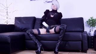 Nier Automata - 2B Solo Masturbate - Game Hentai Porno Cosplay Teen licking