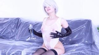 Nier Automata - 2B Solo Masturbate - Game Hentai Porno Cosplay Suck suck