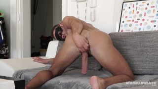 Cute Hairy Straight Guy Jerks 8.5 Inches Of Uncut Cock HARD
