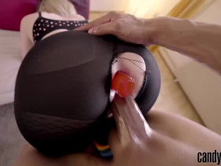 Candy May DOGGY DOUBLE PENETRATION THROUGH RIPPED LEGGINGS