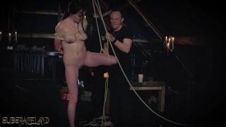 Rope bondage teen slapped and punished in sensual BDSM training