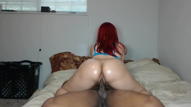 Big booty dick riding Big booty redbone rides bbc in sexy blue bra gets pussy filled