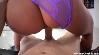 Adriana Chechik gets done POV  big ass point of view bj oral couple blowjob cumshot pov hardcore cock sucking brunette raw big butt bg sex