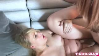 Sucks ts lesbian chubby and cock fucks ponytail trans