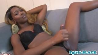 Gorgeous ebony tranny tugging her BBC