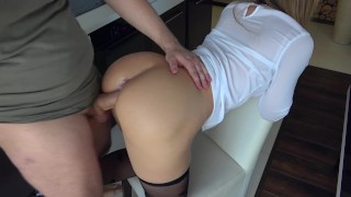 hot horny stepsister play with steprother in kitchen Handjob of