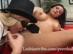 Hot Slutty Lesbians Playing with Big Black Strapon