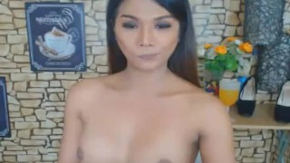 Wild Asian Shemale Jerks on her Big Hard Dick Gagged bdsm
