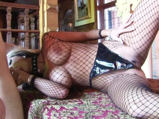 Busty Big Tits Blonde in Fishnets Fucked and Gets HUGE LOAD Tits Facial
