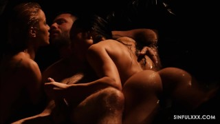Most amazing close up threesome sex video