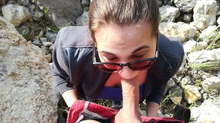 Preview 6 of Public blowjob with amazing massive cum in mouth