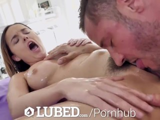 LUBED Massage table slipper fuck and facial with busty Dillion Harper