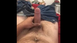 Solo male jerking off with roommates home