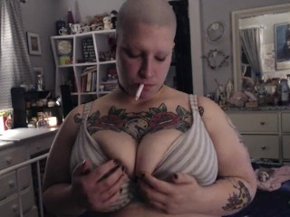 Fresh Faced Bald Babe Unwinds With Cigarette After Long Day