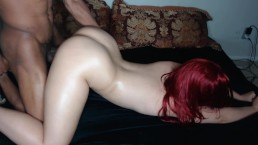Red head bubble butt takes it hard face down ass up & gets nutted in!