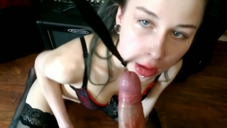 Hot babe on a Leash  Hard Facefuck with Massive Cum Load Shaved licking