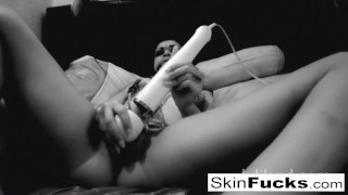 BW ball-gag bedroom fun with Skin Diamond