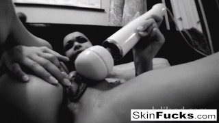 BW ball-gag bedroom fun with Skin Diamond Wet vr
