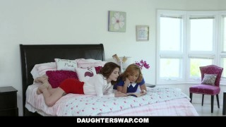 DaughterSwap - Two Hot Moms Teach Their Stepdaughters Lesbo Sex Throat rough