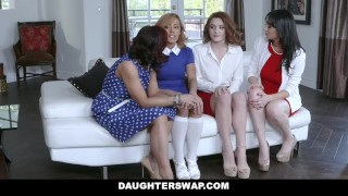 DaughterSwap - Two Hot Moms Teach Their Stepdaughters Lesbo Sex Pussy small