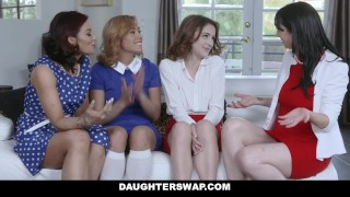 DaughterSwap - Two Hot Moms Teach Their Stepdaughters Lesbo Sex Young tits