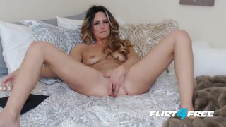 Whitnee James on Flirt4Free - Sexy Blonde Petite Babe Penetrates Both Holes Deepthroat facial