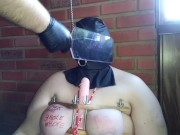 Hooded slave gets bound tits punished, made to suck.