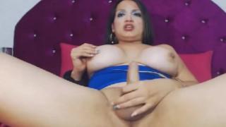 Huge Boobs Shemale Masturbates her Dick