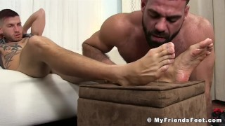Tattooed jock toe sucked by a hunk while jacking his fat rod Guys young