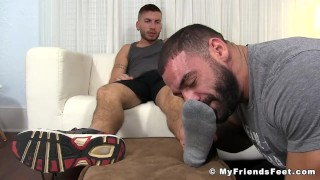 Tattooed jock toe sucked by a hunk while jacking his fat rod Butt bj