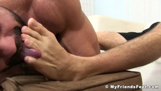 Tattooed jock toe sucked by a hunk while jacking his fat rod
