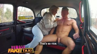 Female Fake Taxi Nympho blonde driver swaps muscly studs cock for cash