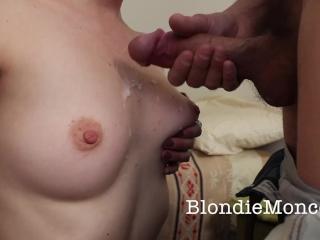 Cumshot on hot gf's perky tits