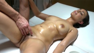 Sexy Afghan-British babe fucked on massage table