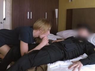 Sexy Croatian babe rides cop