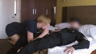 Sexy Croatian babe rides cop's hard cock and takes his cum on her ass