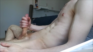 Home alone and jerkning my big hard cock off, BIG LOAD! Teen pussy