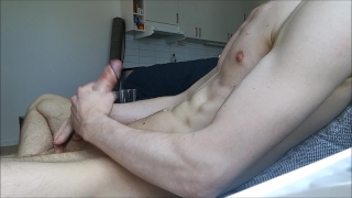Home alone and jerkning my big hard cock off, BIG LOAD! Blowjob glowup2018