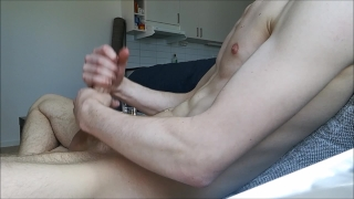 Home alone and jerkning my big hard cock off, BIG LOAD! Doggystyle boobs